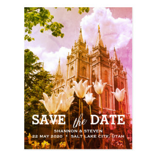 Salt Lake City, Utah Tempel, der Save the Date Postkarte
