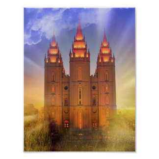 Salt Lake-Tempel mit Sunbeamsplakat Poster