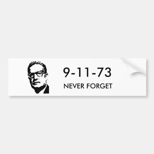 Salvador-Allendebild, 9-11-73, VERGESSEN NIE Autoaufkleber