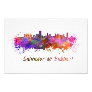 Salvador De Bahia skyline im Watercolor Kunstfoto