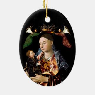 Salzen von Madonna und von Christus-Kind Ovales Keramik Ornament