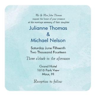 Salzige blaue Aquarell-Hochzeit Individuelle Ankündigungskarte