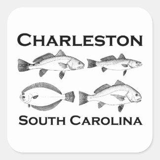Salzwasser-Fischen Charlestons South Carolina Quadratischer Aufkleber
