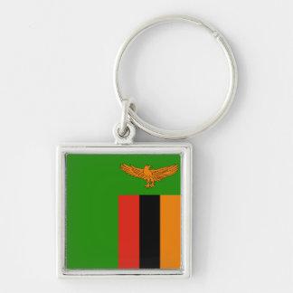 Sambia-Flagge Keychain Silberfarbener Quadratischer Schlüsselanhänger