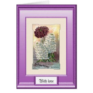 Samen der Vergangenheit, lila und weiß Karte