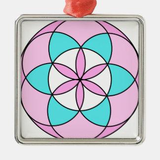 Samen des Leben-Rosas Quadratisches Silberfarbenes Ornament