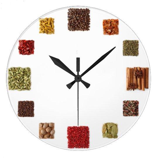 Samen und Gewürz-Uhr für jede Küche Große Wanduhr | Zazzle