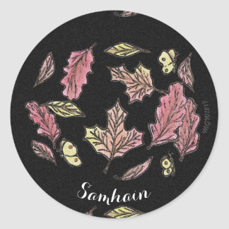 Samhain wirbelnder Blätter-Hexe Wiccan Heide Runder Aufkleber