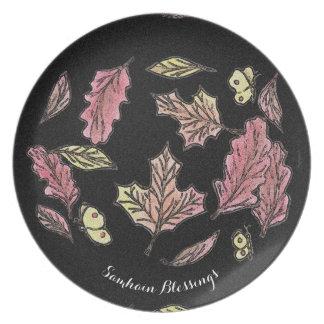 Samhain wirbelnder Blätter-Hexe Wiccan Heide Teller