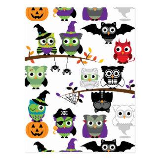 Sammlung gespenstische Halloween-Eulen Postkarten