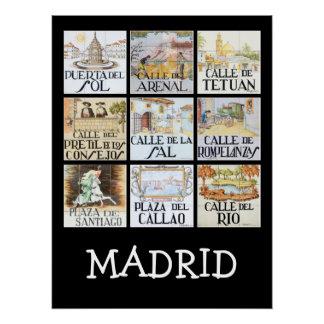 Sammlung Straßenschilder von Madrid, Spanien Poster