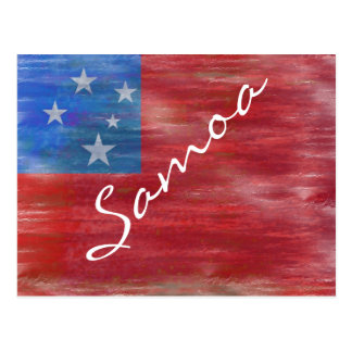 Samoa-Inseln beunruhigten samoaische Flagge Postkarte
