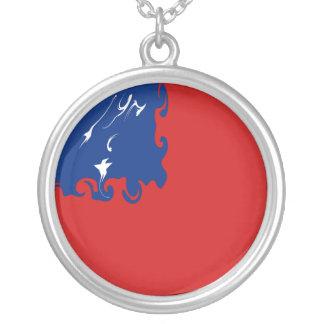 Samoa-Inseln Gnarly Flagge Halskette Mit Rundem Anhänger