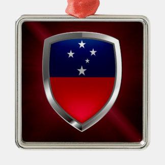 Samoa-Inseln metallisches Emblem Silbernes Ornament