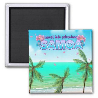 "Samoa-Inseln ""Reise in Abenteuer"" Reiseplakat Quadratischer Magnet"