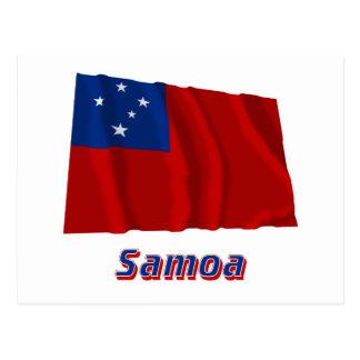 Samoa-Inseln wellenartig bewegende Flagge mit Postkarte