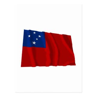 Samoa-Inseln wellenartig bewegende Flagge Postkarte