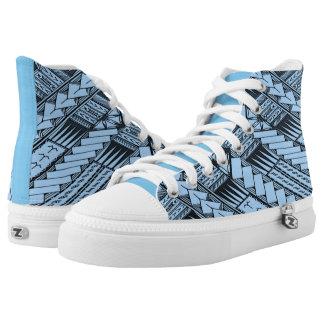Samoaische Blau-/Baby-Blau-Stammes- Entwürfe durch Hoch-geschnittene Sneaker