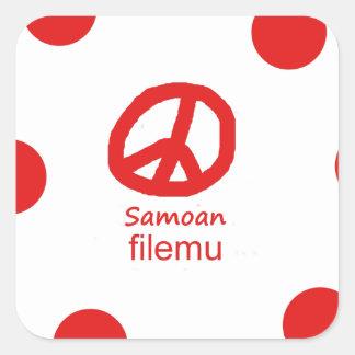 Samoaische Sprache und Friedenssymbol-Entwurf Quadratischer Aufkleber