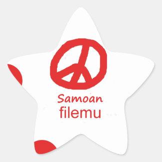 Samoaische Sprache und Friedenssymbol-Entwurf Stern-Aufkleber