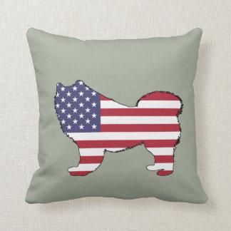 "Samoyed - ""amerikanische Flagge "" Kissen"