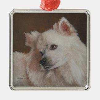 Samoyed-Hundemalerei-Weihnachtsverzierung Silbernes Ornament