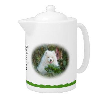 Samoyed-Teekanne, weißes Porzellan
