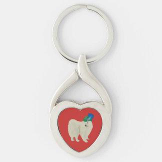 Samoyed-Valentinsgruß-Schlüsselkette;  Schlüsselanhänger