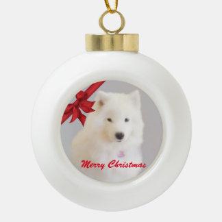 Samoyed-Weihnachtsverzierung; Keramik-Ball Keramik Kugel-Ornament