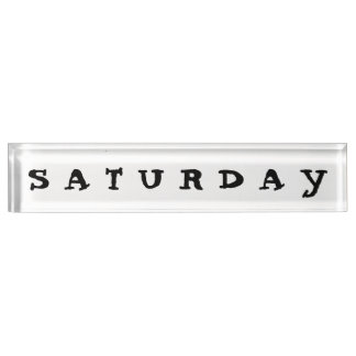 Samstag-Schreibtisch-Nummernschild