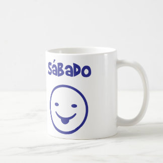 Samstag zerteilt Tag Kaffeetasse