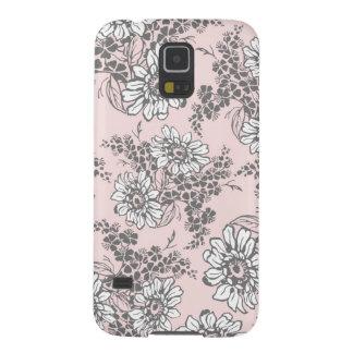Samsungrosa graues Blumenmuster Samsung Galaxy S5 Hüllen
