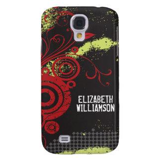 Samt3 Grunge blühen (Rot) Galaxy S4 Hülle