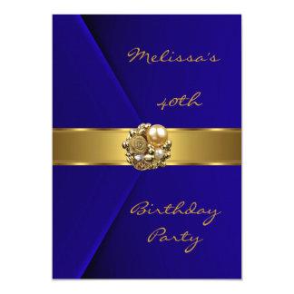 Samtgoldperlenjuwel des Geburtstags-Party-40. 12,7 X 17,8 Cm Einladungskarte