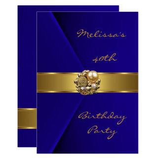 Samtgoldperlenjuwel des Geburtstags-Party-40. Karte