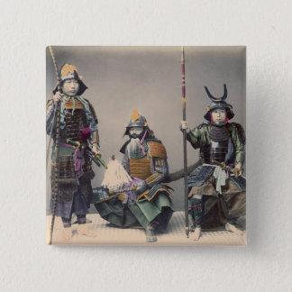 Samurai 3 im Rüstungs-Vintagen Foto Quadratischer Button 5,1 Cm