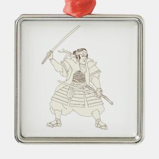 Samurai-Krieger Katana Kampf-Position Woodblock Silbernes Ornament