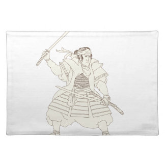 Samurai-Krieger Katana Kampf-Position Woodblock Stofftischset