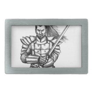 Samurai-Kriegers-Kampf-Positions-Tätowierung Rechteckige Gürtelschnalle