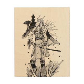 Samurai-Küken Holzdruck
