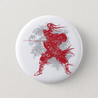 Samurai-Pose Runder Button 5,7 Cm