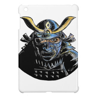 Samurai-tragender Rüstungs-Maske Mempo Holzschnitt iPad Mini Hülle