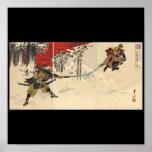 Samuraikampf im Schnee circa 1890 Poster
