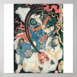 Samurais, die einen Dämon, alte japanische Malerei Poster