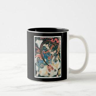 Samurais, die einen Dämon, alte japanische Malerei Zweifarbige Tasse