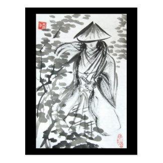 Samurais in der Waldpostkarte Postkarte