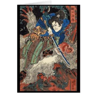 Samurais japanisches malendes C. 1800's Karte