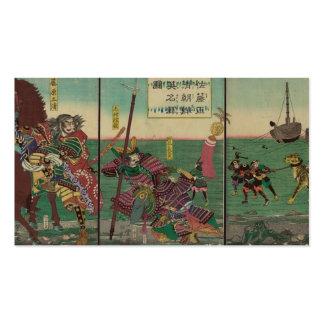 Samurais, Pferd, Boote und Tiger circa 1800s Visitenkarten Vorlage
