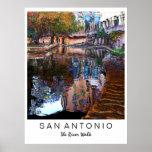 San Antonio, Texas: Fluss-Weg-Kunst-Druck Poster