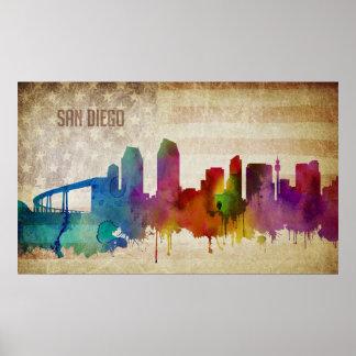 San Diego, Aquarell-Stadt-Skyline CAs | Poster